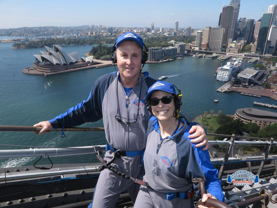 Rick Warner and his wife climbing the Sydney Harbour Bridge, Australia.