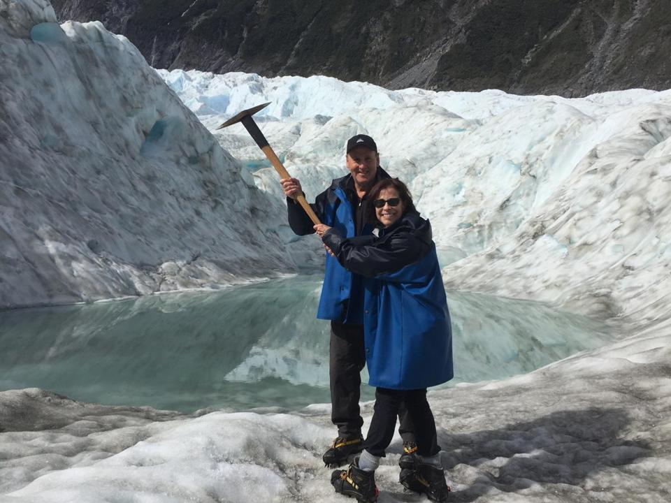 17downunder -- Writer Rick Warner and his wife Pat holding ice axe at Fox Glacier, New Zealand. (Rick Warner)