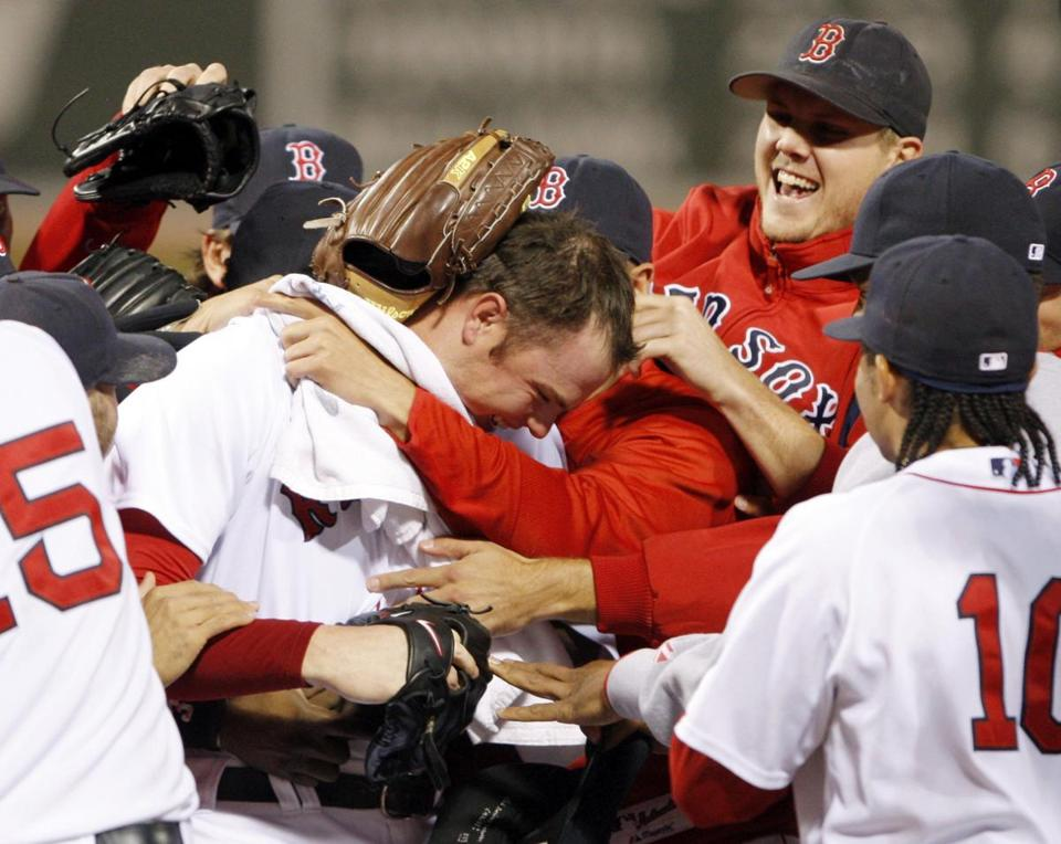 Red Sox pitcher Jon Lester was mobbed by teammates after throwing Boston's last no-hitter in 2008. Should the Red Sox pitch a no-hitter in any of the 64 games scheduled for July 17 through Oct. 1, Jordan's Furniture will again be refunding purchases made between March 28 and May 20.