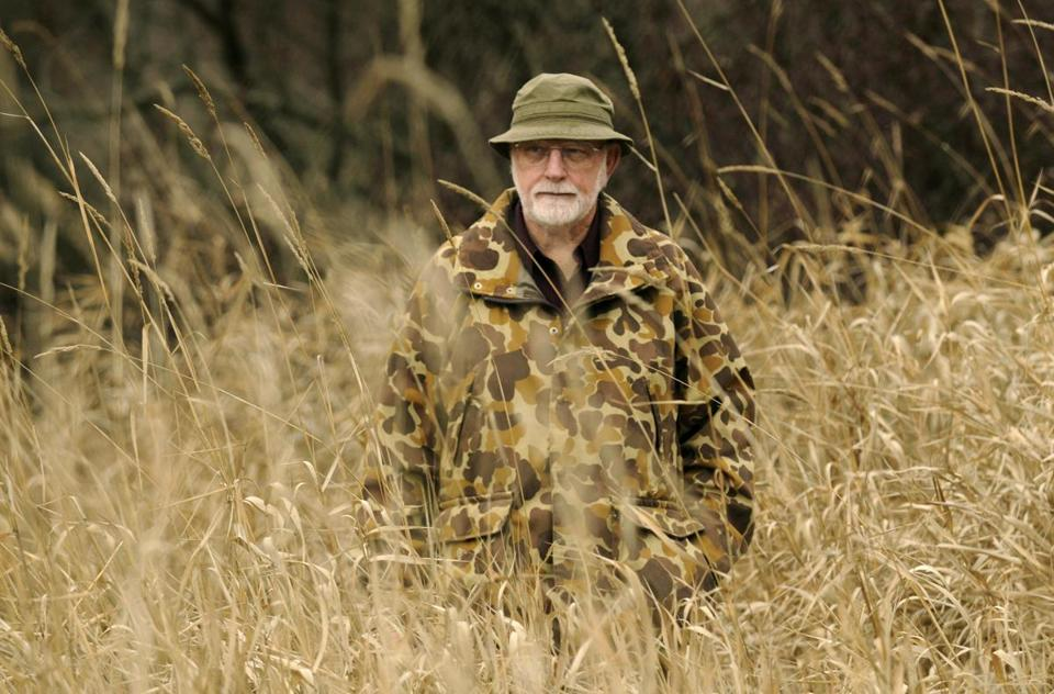 FILE - In this Nov. 20, 2008, file photo, Patrick F. McManus, is seen in Spokane, Wash. McManus, a prolific writer best known for his humor columns in fishing and hunting magazines who also wrote mystery novels and one-man comedy plays, has died. He was 84. McManus' business partner Tim Behrens said Friday, April 13, 2018, that McManus died Wednesday evening, April 11 at a nursing facility in Spokane, Wash., where he had been in declining health. (Colin Mulvany /The Spokesman-Review via AP, File)