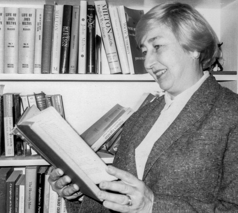 Dr. Lewalski in her study in her home in Providence.
