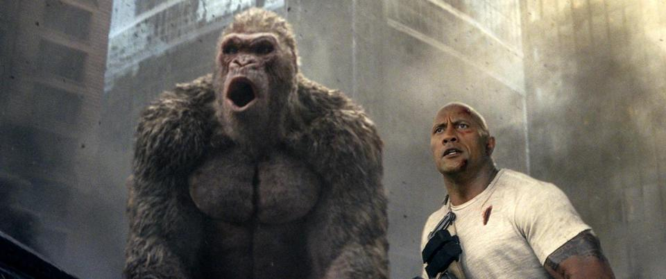 "Dwayne Johnson in a scene from ""Rampage,"" which finished the weekend atop the US box office."
