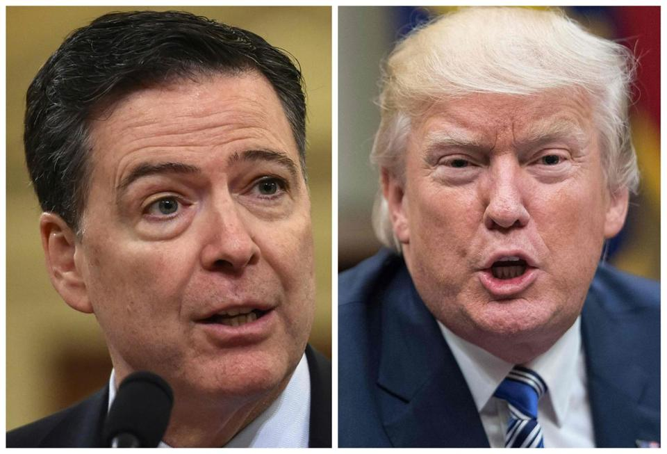 "(FILES) These two file photos show then FBI Director James Comey (L) in Washington, DC, on March 20, 2017; and US President Donald Trump in Washington, DC, on June 6, 2017. Former FBI director James Comey says in a new book that President Donald Trump reminded him of a mafia boss who demanded absolute loyalty, saw the entire world against him, and lied about everything. According to excerpts of the book leaked by US media on Thursday, April 12, 2018, Trump was also obsessed with the alleged existence of a video in which Russian prostitutes said to be hired by Trump urinated on the bed in a Moscow hotel room. In the book to be released officially next Tuesday, April 17, 2018, Comey, whom Trump fired in May 2017, says the US president lives in ""a cocoon of alternative reality"" that he tried to pull others around him into, according to The Washington Post. / AFP PHOTO / NICHOLAS KAMM AND Nicholas KammNICHOLAS KAMM/AFP/Getty Images"