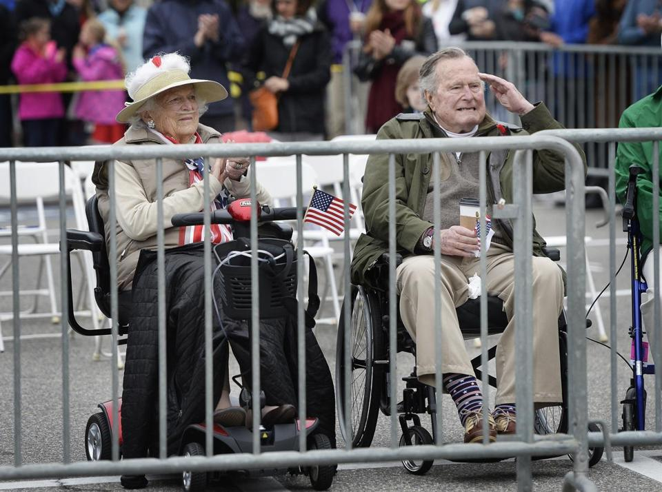 Barbara and George H.W. Bush attended last year's Memorial Day parade in Kennebunkport, Maine, where they spend summers.