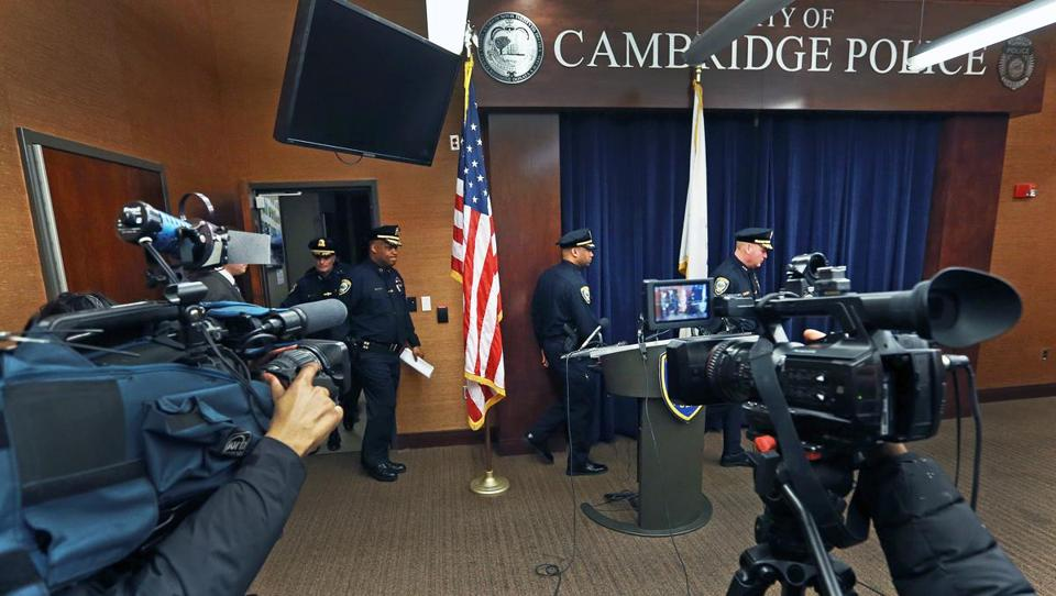 Top Cambridge police officials arrived for a news conference on Monday.