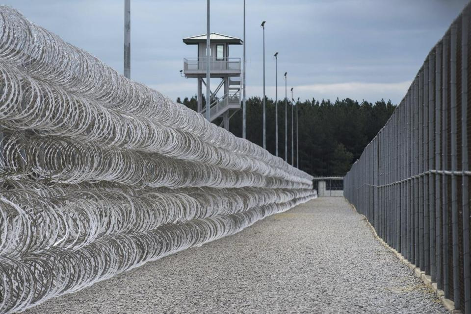 The perimeter fence at the Lee Correctional Institution in Bishopville, S.C.