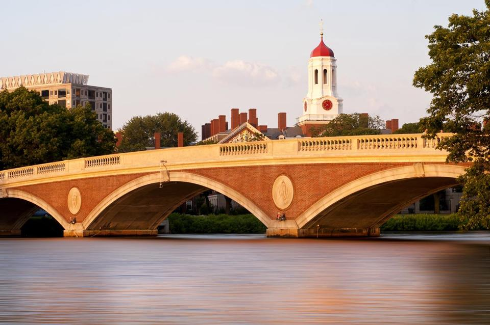 Sunset view of Harvard University and Weeks Bridge