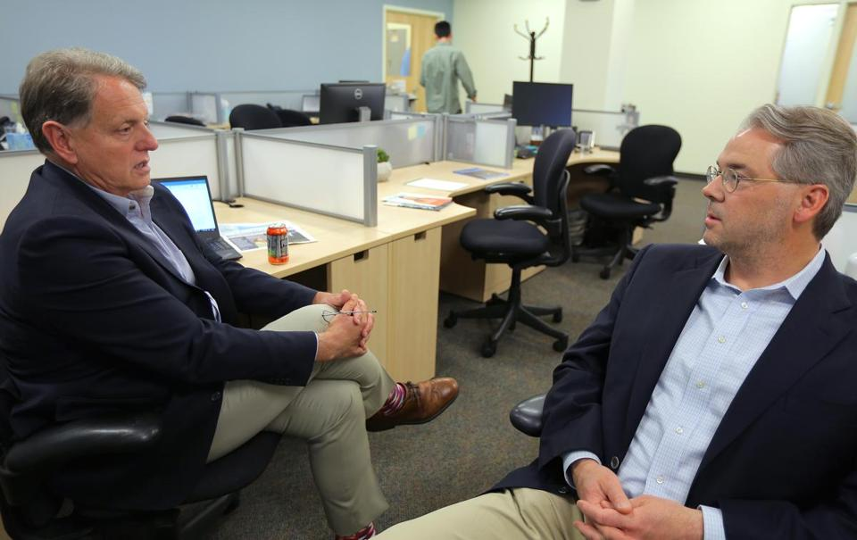 Bedford, MA - 5/2/18 - CEO Ed Kaye (cq), left, and COO Huw Nash (cq) Stoke Therapeutics is looking for a genetic cure for epilepsy. Photo by Pat Greenhouse/Globe Staff Topic: 4stoke Reporter: Jonathan Saltzman