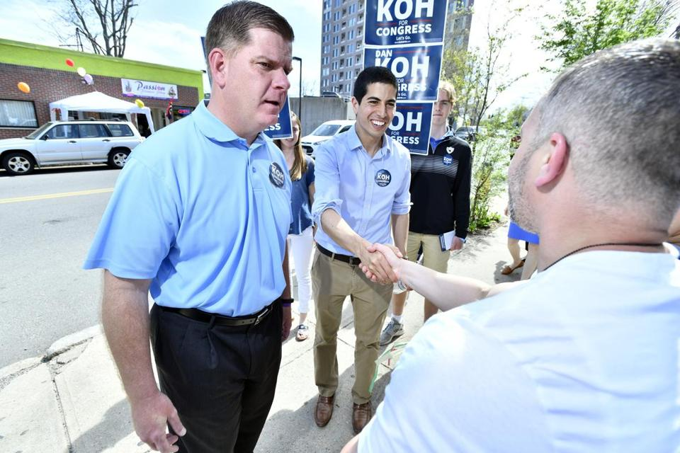 Dan Koh (center) and Boston Mayor Marty Walsh campaigned in May 2018 in Haverhill, during Koh's campaign for the US House.