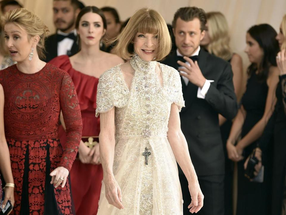 Anna Wintour attends The Metropolitan Museum of Art's Costume Institute benefit gala celebrating the opening of the Heavenly Bodies: Fashion and the Catholic Imagination exhibition on Monday, May 7, 2018, in New York. (Photo by Evan Agostini/Invision/AP)