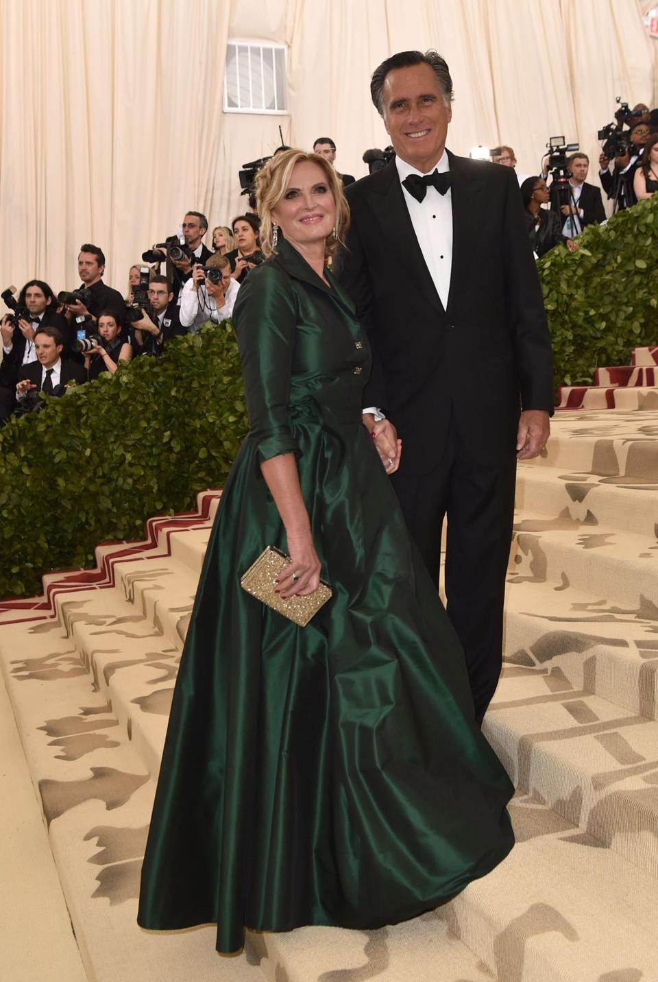 Mitt Romney and Ann Romney arrive for the 2018 Met Gala on May 7, 2018, at the Metropolitan Museum of Art in New York. The Gala raises money for the Metropolitan Museum of Arts Costume Institute. The Gala's 2018 theme is Heavenly Bodies: Fashion and the Catholic Imagination. / AFP PHOTO / Hector RETAMALHECTOR RETAMAL/AFP/Getty Images