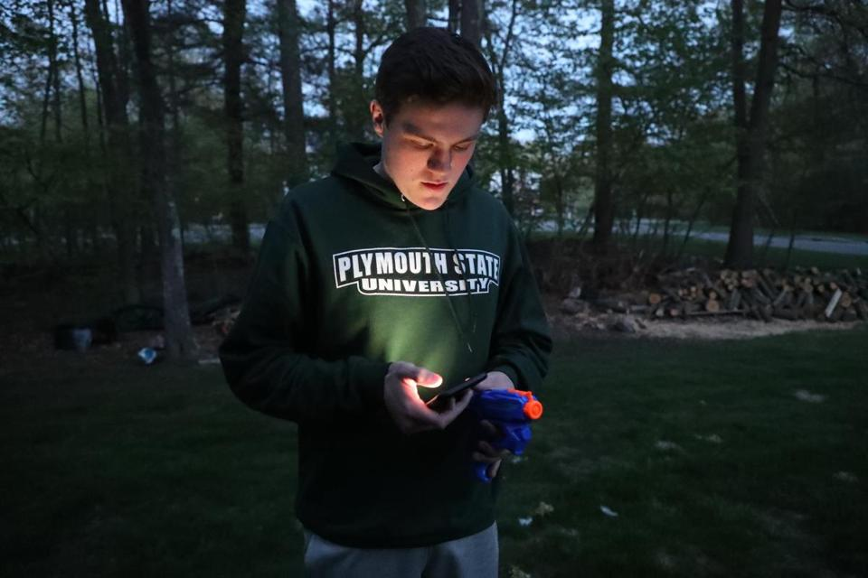 "A water-gun-armed Cameron Conley, a senior at Medway High School, was in the backyard of his ""Senior Soak"" target, texting his friends Rob DiGregorio and Joey Bevilacqua, who dropped him off and were waiting around the corner in Bevilacqua's car."