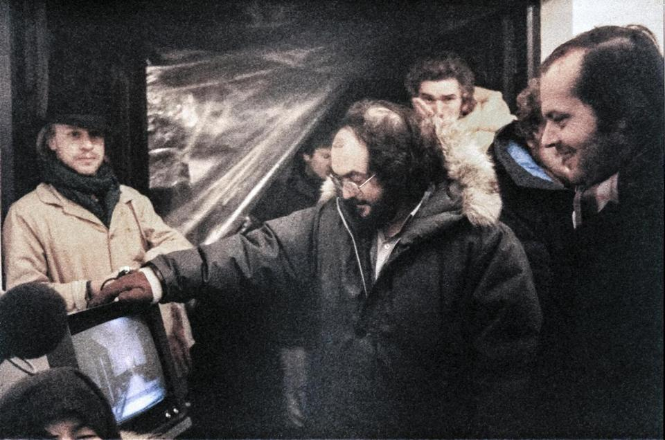"From left: Leon Vitali, Stanley Kubrick, and Jack Nicholson in a scene from the documentary ""Filmworker."""