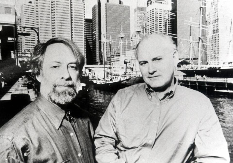FILE - Edwin G. Burrows, left, and Mike Wallace are pictured in this undated file photo. Burrows, a historian who won a Pulitzer Prize with Wallace for an epic overview of New York City's early history, died Friday, May 4, 2018 at his home from complications of a Parkinsonian syndrome, said his daughter, Kate Burrows. He was 74. (AP Photo/File)