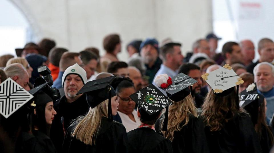 Boston, MA - 5/12/2018 - Students file into into Blue Hills Bank Pavilion for the final commencement ceremony for Mount Ida College. - (Barry Chin/Globe Staff), Section: Metro, Reporter: Laura Krantz, Topic: 13mountida, LOID: 8.4.1885814524.