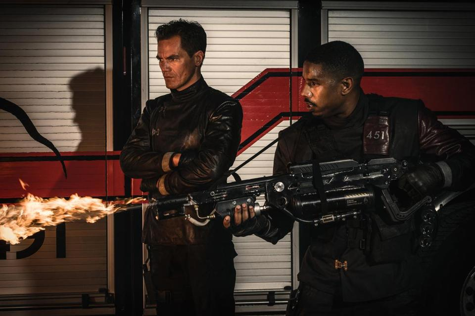 "Michael Shannon and Michael B. Jordan in ""Fahrenheit 451."""