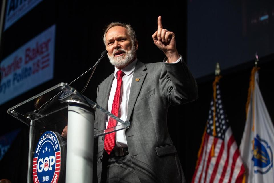 04/28/2018 WORCESTER, MA Candidate for Governor Scott Lively (cq) spoke during the Massachusetts GOP State Convention held at the DCU Center in Worcester. (Aram Boghosian for The Boston Globe)