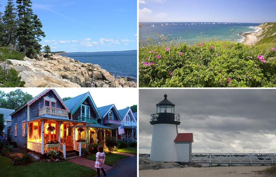 Clockwise (from top left): Acadia National Park in Bar Harbor, Maine; Block Island, R.I.; a Nantucket lighthouse; gingerbread cottages on Martha's Vineyard.