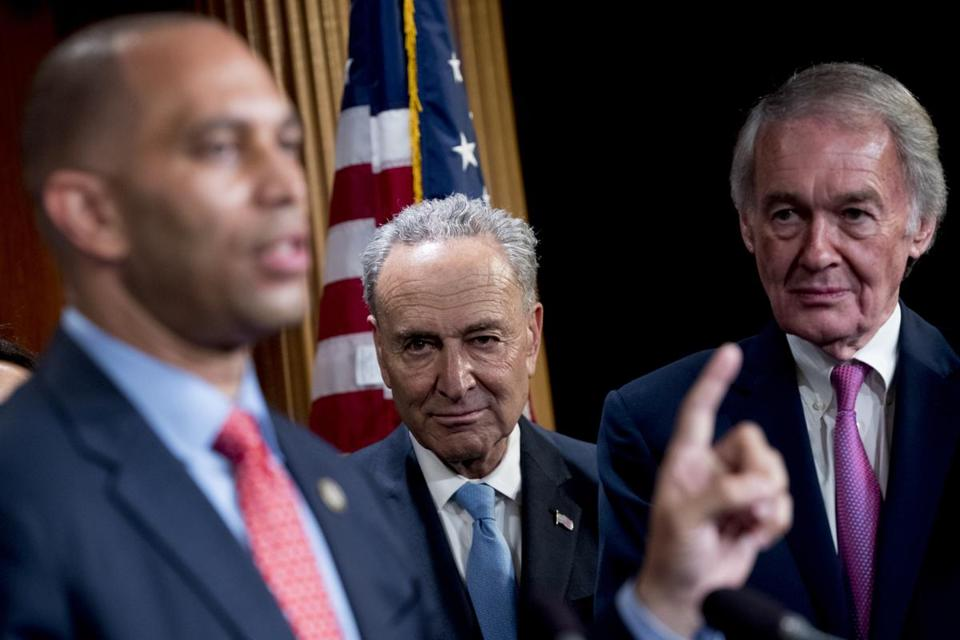 Massachusetts Democratic Senator Ed Markey (right) joined fellow lawmakers at a news conference in Washington Wednesday to press the case for restoring Obama-era Net neutrality rules. With him were Senate minority leader Chuck Schumer of New York (center) and Representative Hakeem Jeffries, Democrat of New York.