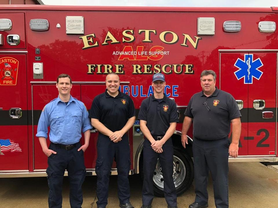 Easton Fire Lieutenant Bill Fralick and firefighters Tom Baker, Tim Sweeney, and Fred Chute helped deliver a healthy baby girl on their way to the hospital.