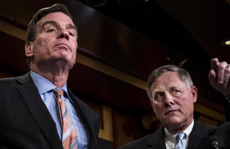 Senate Intelligence Committee Vice Chairman Mark Warner, left, and committee Chairman Richard Burr.