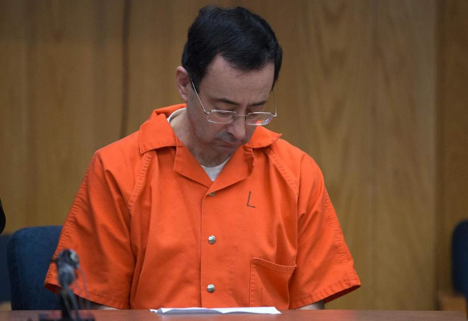 Larry Nassar appearing in court in Charlotte, Mich., in February.