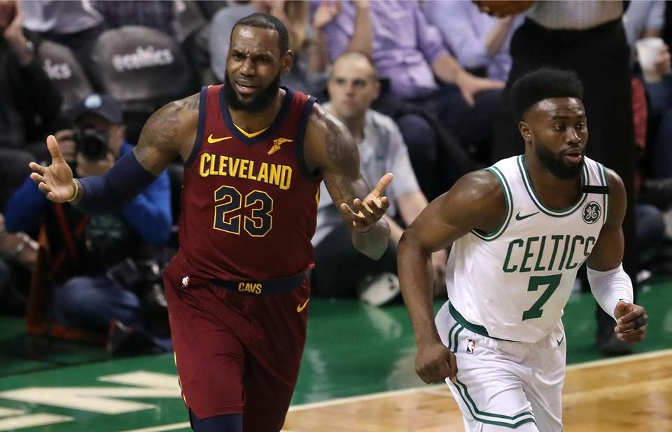 CELTICS SLIDER Boston MA 5/14/18 Cleveland Cavaliers LeBron James complains to the officials in front of Boston Celtics Jaylen Brown during first half action in the NBA Eastern Conference Finals at the TD Garden. (photo by Matthew J. Lee/Globe staff) topic: Celtics-Cavaliers reporter: Adam Himmelsbach