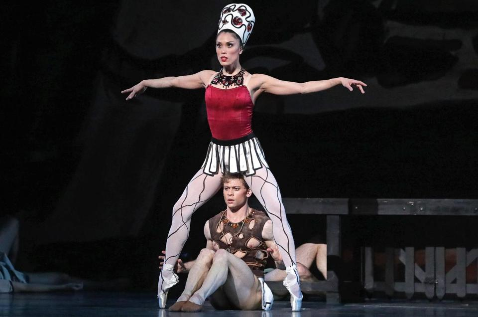 "Lia Cirio and Derek Dunn in Boston Ballet's performance of ""Prodigal Son"" by George Balanchine at Boston Opera House."