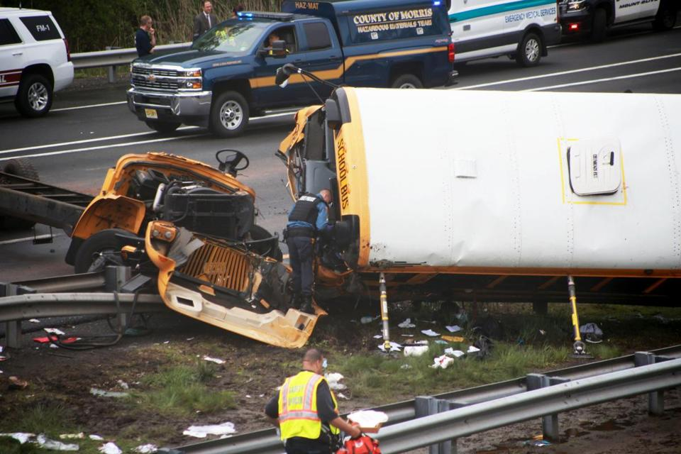School bus, dump truck crash in NJ