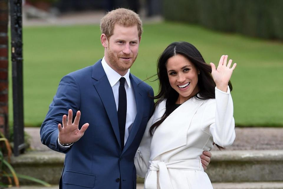 Prince Harry and Meghan Markle after announcing their engagement in 2017.