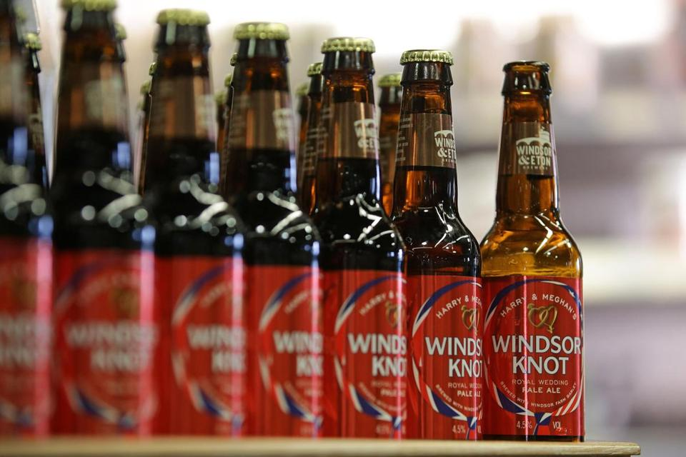 Bottles of Harry & Meghan's Windsor Knot ale, a limited edition craft beer brewed to mark the royal wedding of Prince Harry and Meghan Markle. The regal-themed brew will be served at the sold-out Royal Wedding Viewing Party on Saturday at the Fairmont Copley Plaza Hotel in Boston.