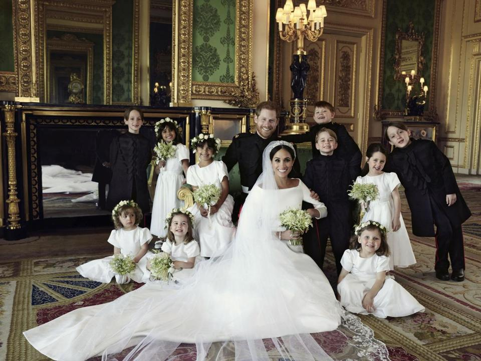 Harry and Meghan were seen with their bridesmaids and page boys