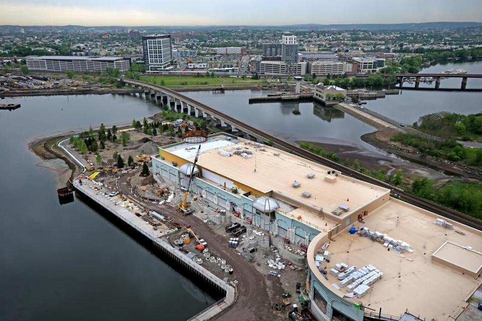 A view of the convention center at Encore Boston Harbor casino in Everett as construction proceeds.