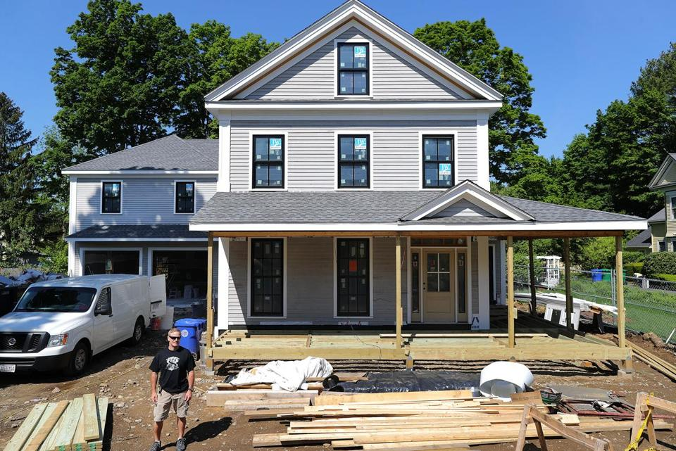Developer Chad Maguire is renovating and expanding an 1856 Greek Revival home on Morton Street in Newton.