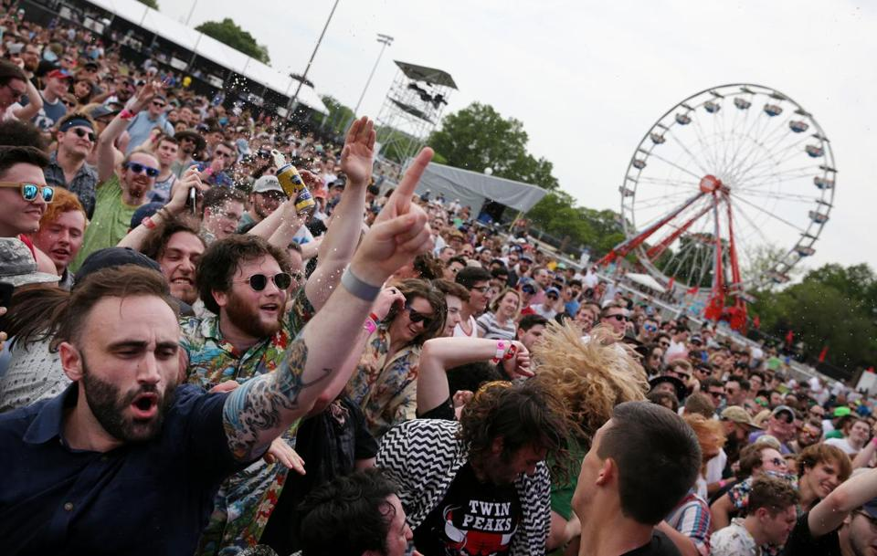 Allston, MA - May 26, 2018: The crowd dances during a performance by the Oh Sees during the Boston Calling Music Festival in Allston, MA on May 26, 2018. With 45 musical acts, seven comedians, two podcasts, and one Natalie Portman performing on three stages and one arena over the course of three days, Boston Calling has never offered festival-goers so many options. (Craig F. Walker/Globe Staff) section: arts reporter: