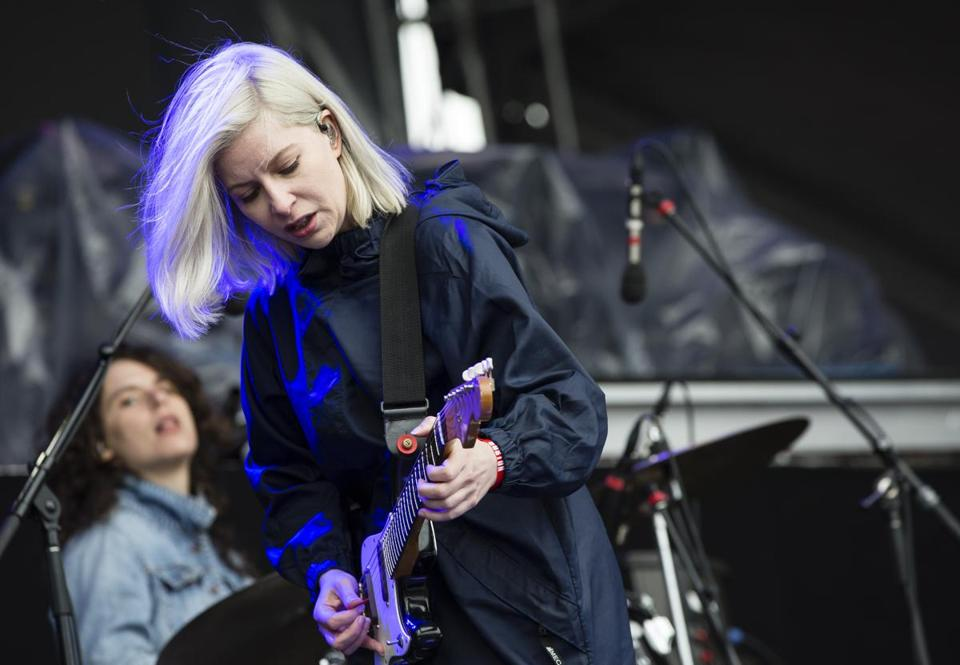 Boston, MA - 5/27/2018 - Molly Rankin of the band Alvvays sings during the band's performance at the Boston Calling music festival in Boston, MA, May 27, 2018. (Keith Bedford/Globe Staff)