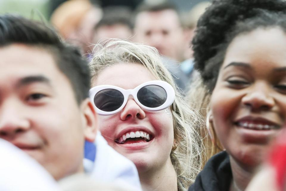 Boston, MA - 5/27/2018 - Fans cheers as the band Alvvays' performance at the Boston Calling music festival in Boston, MA, May 27, 2018. (Keith Bedford/Globe Staff)