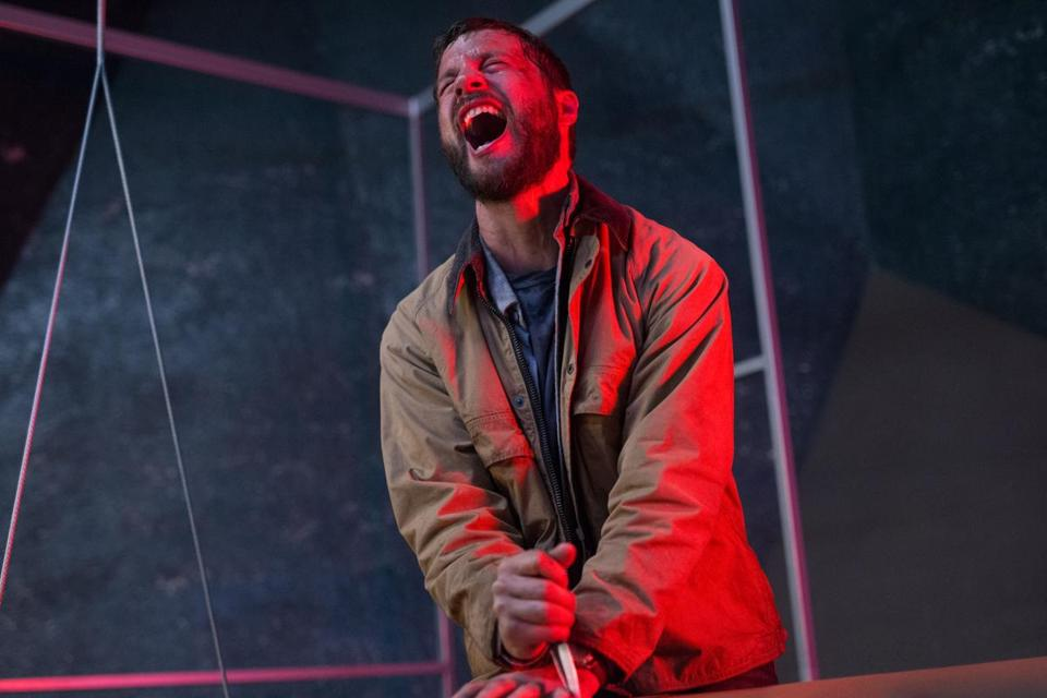 "Logan Marshall-Green stars as a man out for revenge and aided by an experimental chip implant in ""Upgrade."""