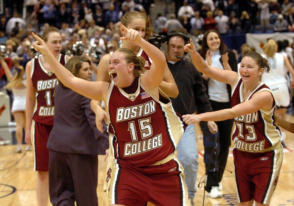 Clare Droesch celebrated after BC defeated UConn, 73-70, in a Big East Championship semifinal game in 2004.