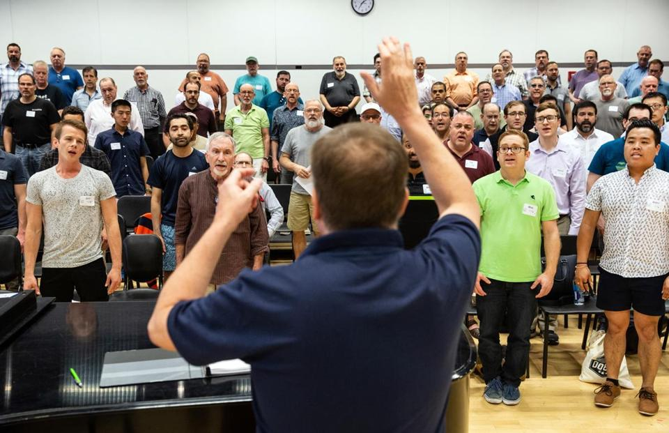 Director Reuben M. Reynolds led a rehearsal for the Boston Gay Men's Chorus at the Boston Conservatory.