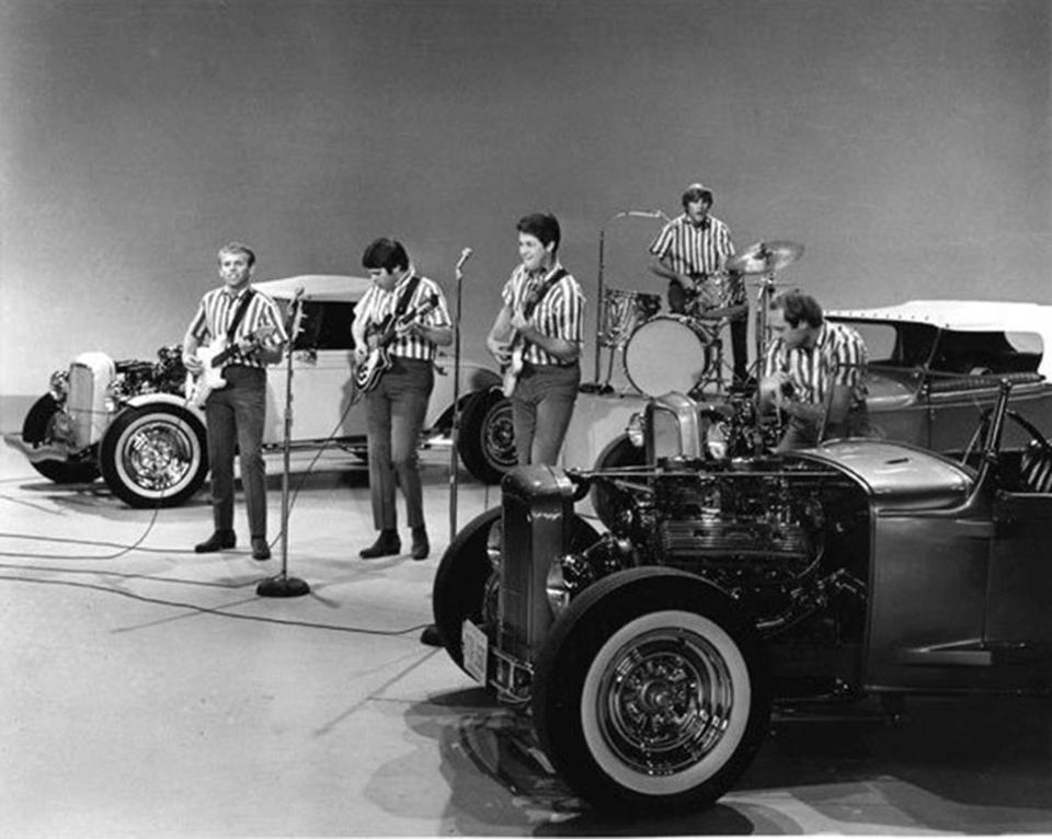 "The Beach Boys perform ""I Get Around"" on TV's ""The Ed Sullivan Show"" in 1964."