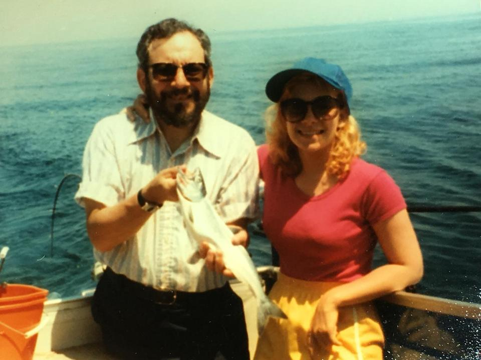 Reisa Sperling on a fishing expedition with her father, Leslie Sperling, who died in 2016.