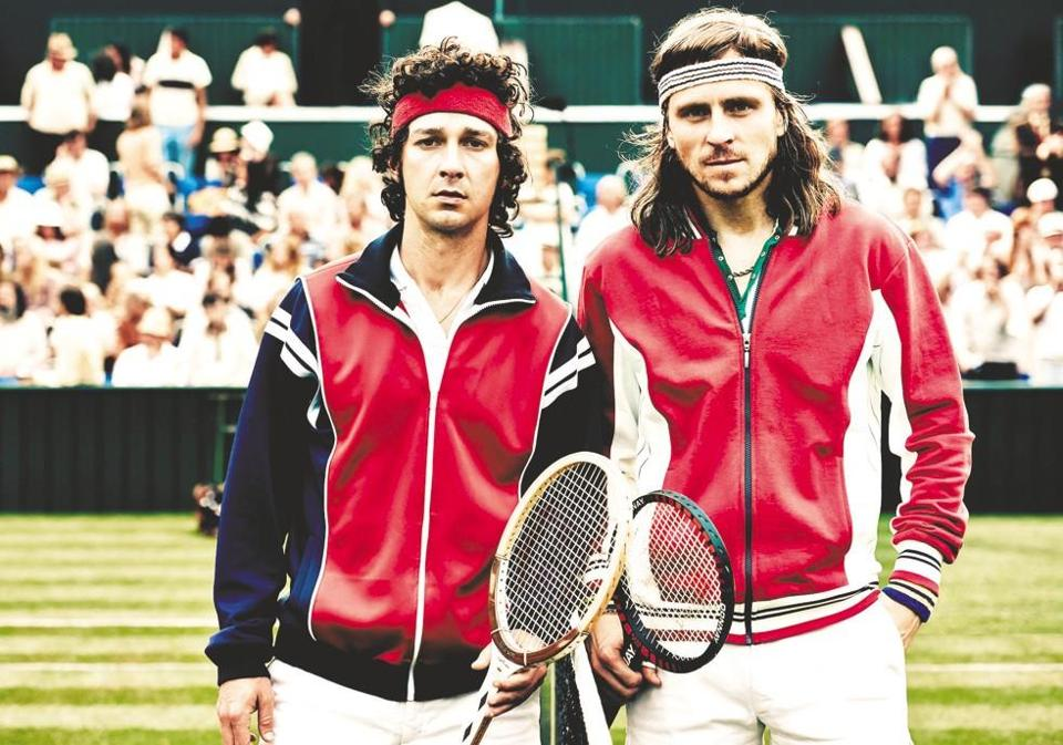 "Shia LaBeouf (left) and Sverrir Gudnason star in ""Borg vs. McEnroe."""