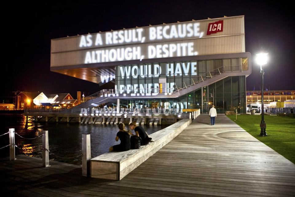 In 2010, a work by artist Jenny Holzer was projected on the side of the Institute of Contemporary Art, next to the museum's earlier logo.