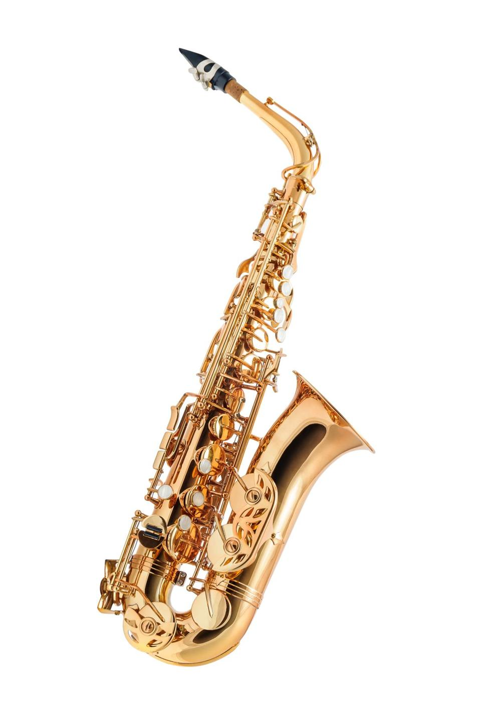 Golden alto saxophone classical instrument isolated on white