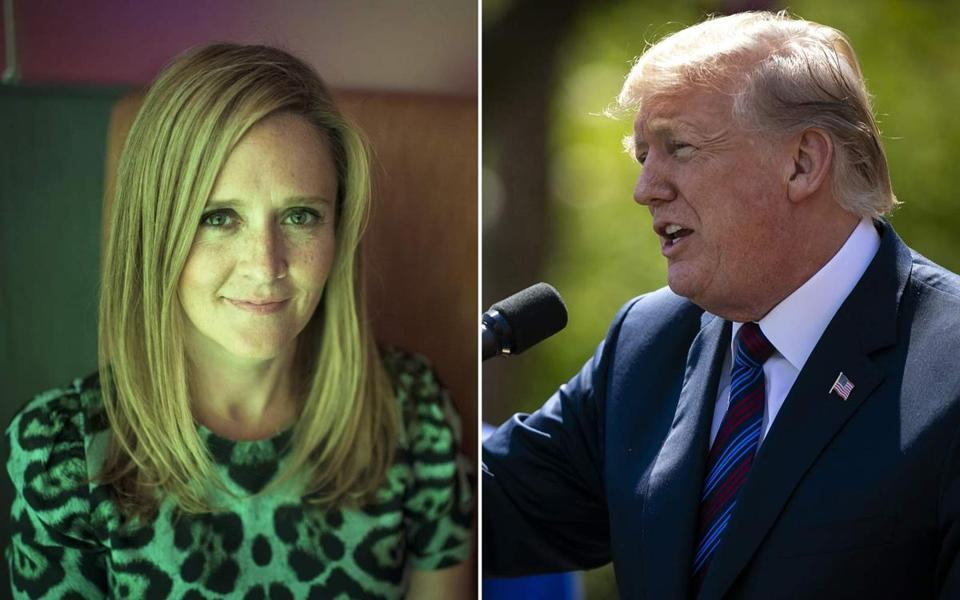 Comic Samantha Bee (left) and President Donald Trump.