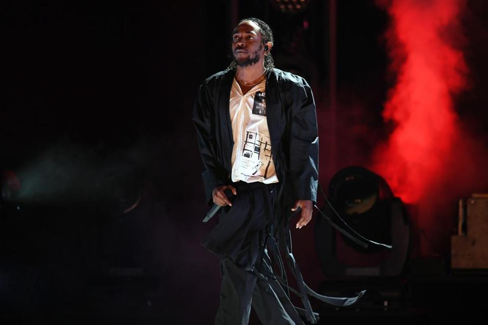 Kendrick Lamar (pictured at the Grammys in January) headlined the TDE Championship Tour stop in Mansfield.