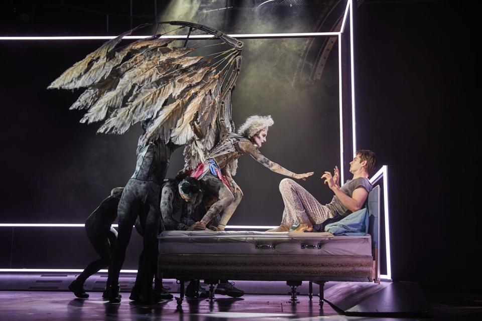 "Beth Malone and Andrew Garfield in ""Angels in America,"" Tony Kushner's Pulitzer Prize-winning ""gay fantasia"" of life in the Reagan era, now on Broadway in a widely praised production. MUST CREDIT: Brinkhoff & Mögenburg 10TonysPredix"