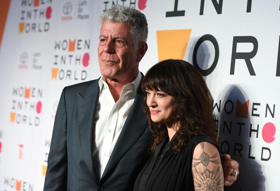 Anthony Bourdain and Italian actress Asia Argento at the 2018 Women in the World Summit at Lincoln Center in New York City.