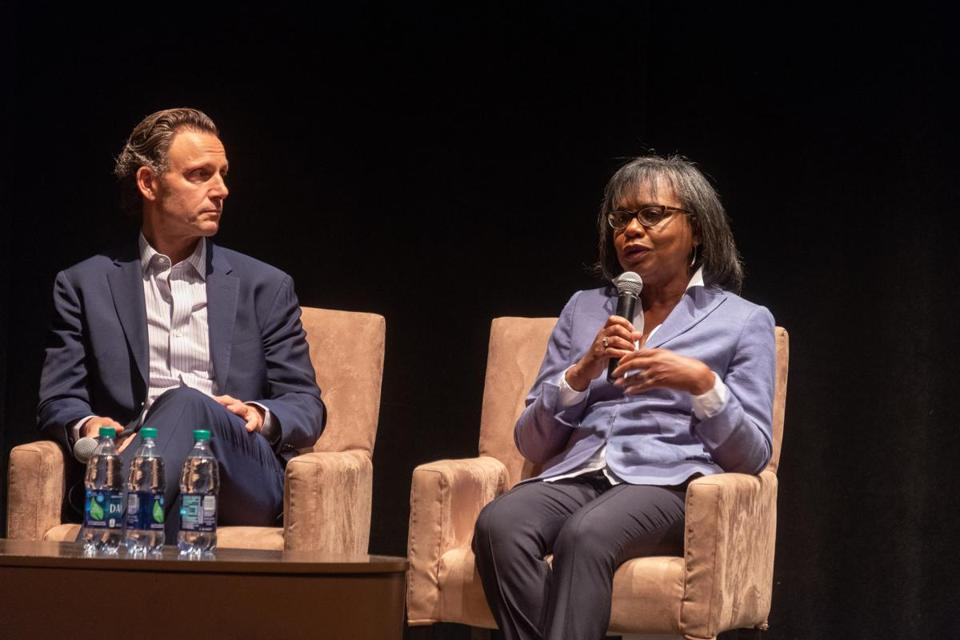 Tony Goldwyn and Anita Hill at Brandeis University.